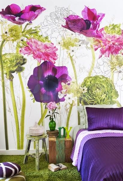 beautiful and artistic purple and green floral print wallpaper