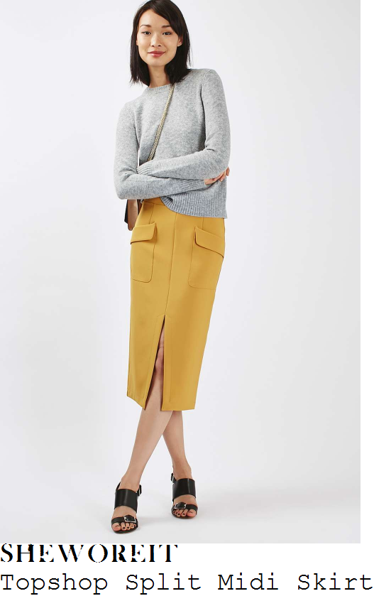 ashley-james-topshop-mustard-yellow-double-pocket-detail-high-waisted-split-front-pencil-midi-skirt