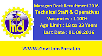 Mazagon Dock Recruitment 2016 for 1100+ Technical Staff & Operatives Apply Here