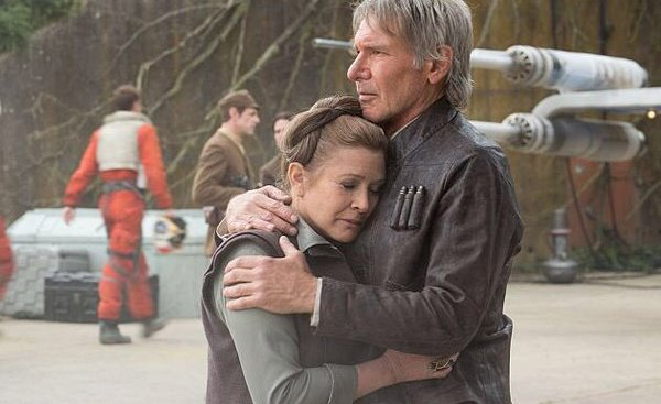 Han Solo embraces Leia in Star Wars: The Force Awakens, Directed by J.J. Abrams