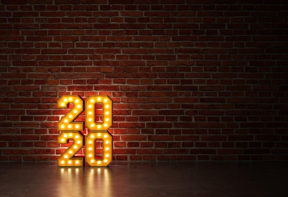 Happy New Year Wallpaper 2020 Brick Wall
