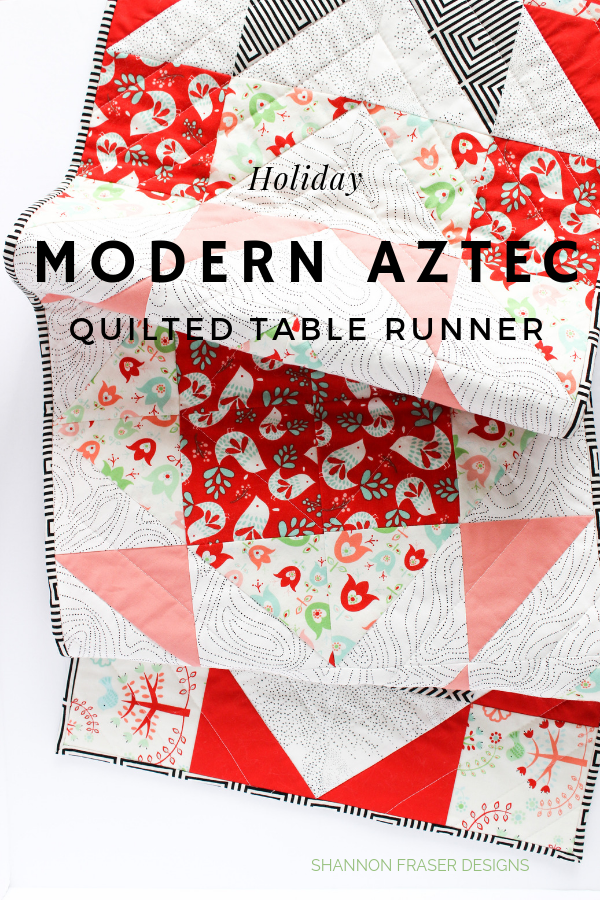 Holiday Modern Aztec quilted table runner by Shannon Fraser Designs