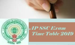AP 10th 2019 Time table, AP 10th Class Exam 2019 Time table, AP SSC 2019 Time table