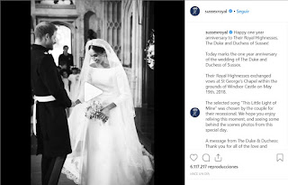 "Happy one year anniversary to Their Royal Highnesses, The Duke and Duchess of Sussex!  Today marks the one year anniversary of the wedding of The Duke and Duchess of Sussex.  Their Royal Highnesses exchanged vows at St George's Chapel within the grounds of Windsor Castle on May 19th, 2018.  The selected song ""This Little Light of Mine"" was chosen by the couple for their recessional. We hope you enjoy reliving this moment, and seeing some behind the scenes photos from this special day.  A message from The Duke & Duchess: Thank you for all of the love and support from so many of you around the world. Each of you made this day even more meaningful.  Photo credit: Chris Allerton/Joe Short (B&W); PA (color) ©️SussexRoyal (B&W images and video)"