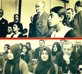 Atatürk iyo Erdogan sawiro tilmaamaya nidaamka Turkey