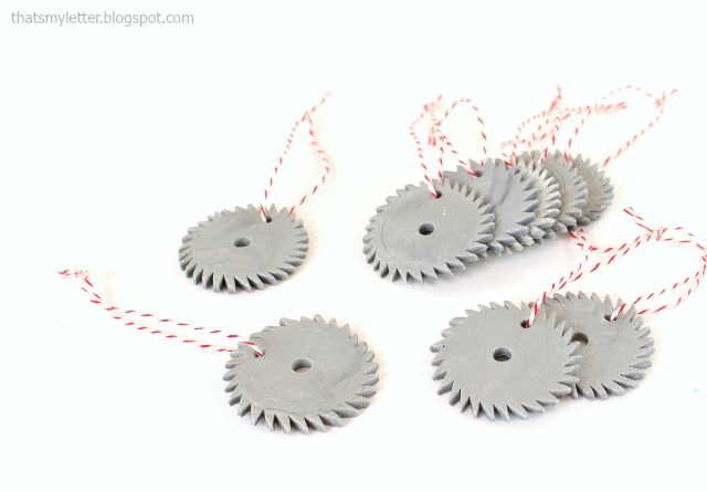 clay mini saw blade ornaments