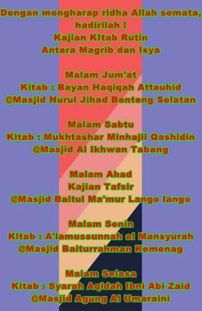 Jadwal Kajian Kitab di Masjid-Masjid wilayah Benteng dan Sekitarnya