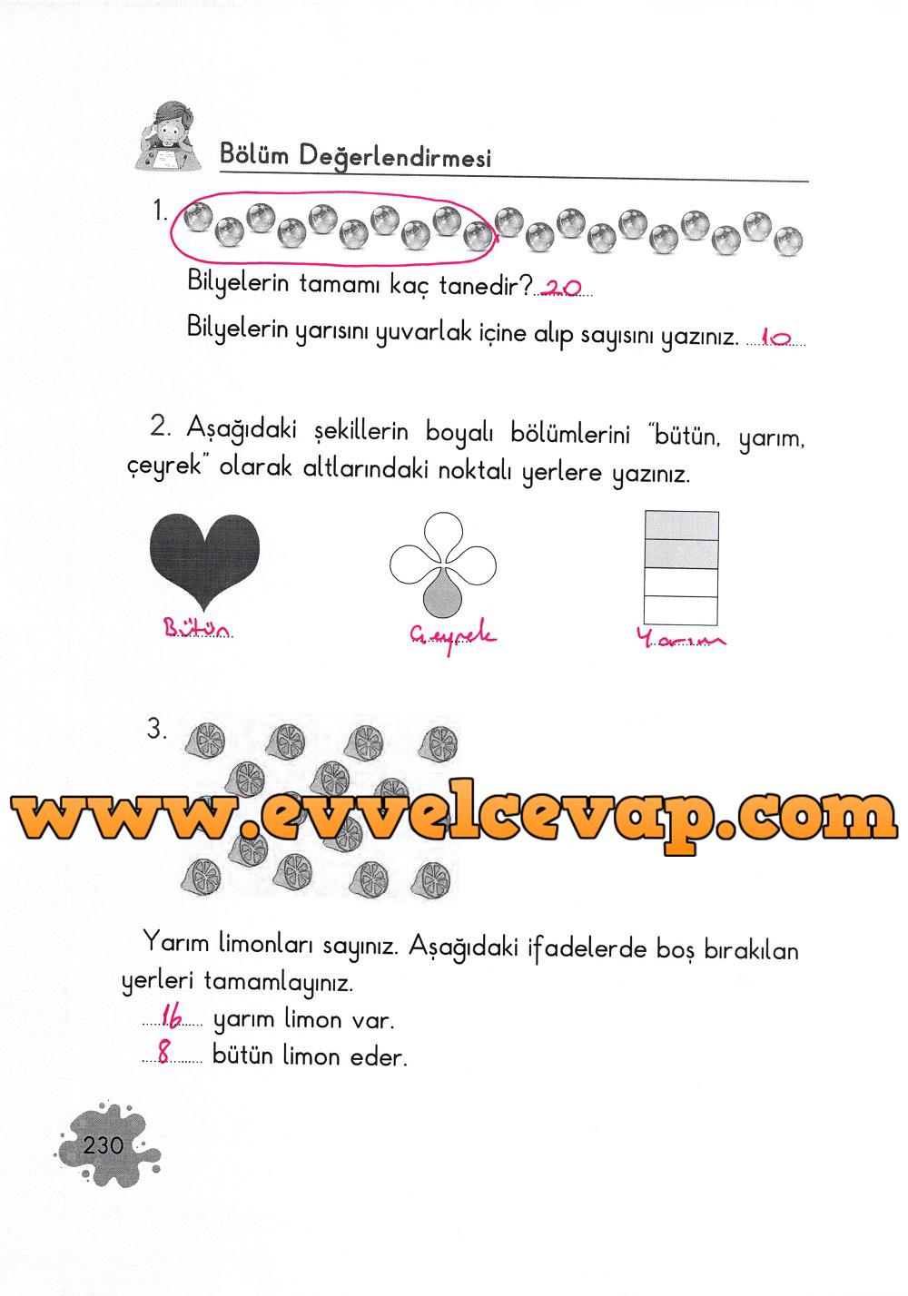 2. Sınıf Açılım Yayınları Matematik Ders Kitabı 230. Sayfa Cevapları
