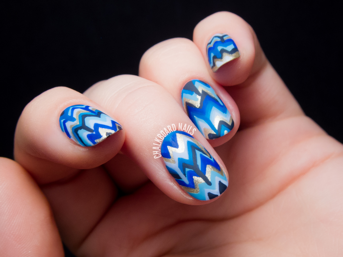 Blue Dripping Chevron Nail Art by @chalkboardnails