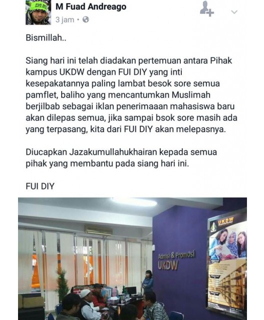 Ormas Islam Protes Baliho 'Mahasiswi Berjilbab' di Kampus Kristen UKDW Yogyakarta