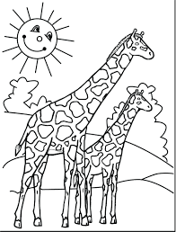 Wild Giraffe on forest Coloring Pages Animals