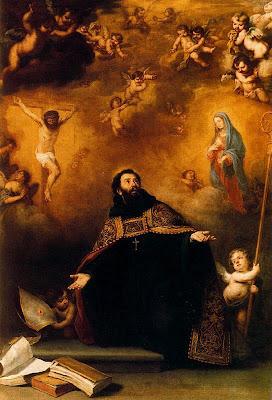 San Agustin arrodillado delante de las imagenes de Jesus y la Virgen extiende sus brazos.