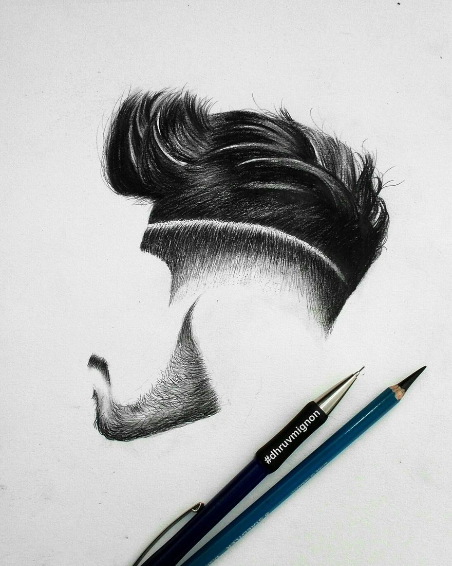 03-dhruvmignon-Minimalist-Realistic-Hair-Study-Drawings-www-designstack-co