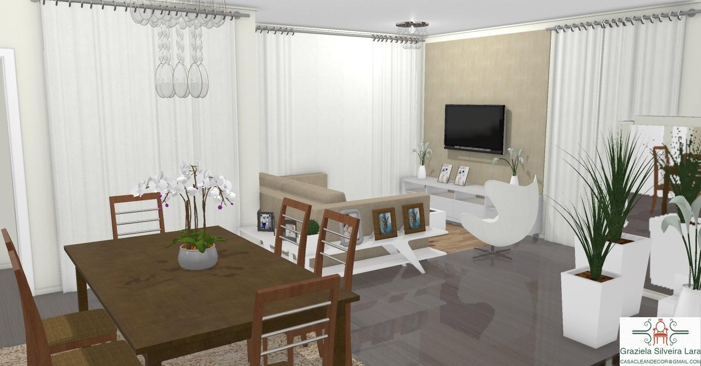 Construindo Minha Casa Clean Consultoria De Decora O Online Salas  -> Sala De Estar Decorada Com Papel De Parede E Espelho
