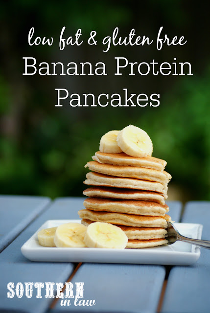 Healthy Banana Protein Pancakes Recipe - low fat, gluten free, high protein, sugar free, clean eating, protein powder, healthy