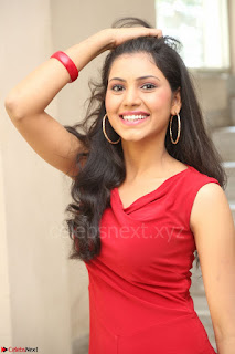 Mounika Telugu Actress in Red Sleeveless Dress Black Boots Spicy Pics 066.JPG