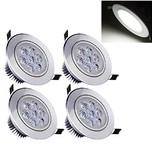 Deckey Pack of 4 Cool White 7W Ceiling Light Downlight Spotlight Recessed Lighting Fixture Adjustable Gimbal Recessed LED Downlight by Deckey