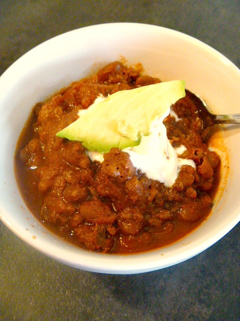 Lightening Fast So-Cal Chili:  This chili is a game changer for weeknight meals.  30 minutes is all you need.  Dinner...done. Slice of Southern