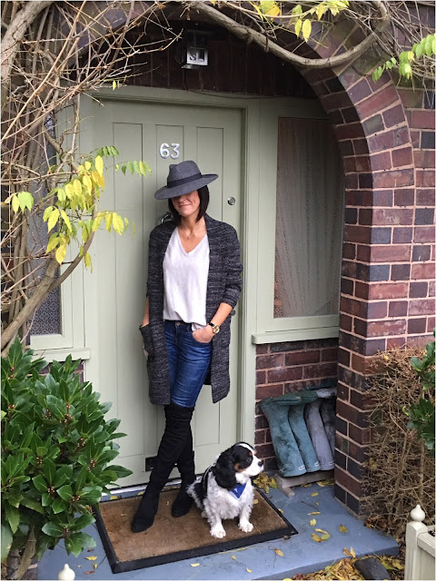 My Midlife Fashion, Zara Fedora Hat, Knitted coatigan, boden loose fit cashmere V neck jumper, schuh Dash over the knee boots, zara skinny jeans