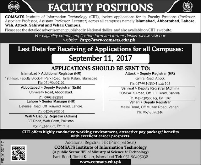 COMSATS Institute of Information Technology Jobs 2017
