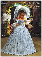 roupa de época em crochet para boneca - crochet collector vol. 57 frente