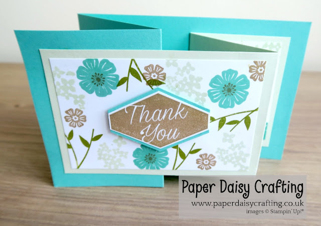 Double Z fold card with Beautiful Bouquet from Stampin Up!