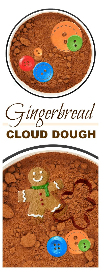 FUN KID PROJECT:  Make gingerbread cloud dough!  Soft & mold-able... it's a must try for kids!  #gingerbreadclouddough #Christmascraftsforkids