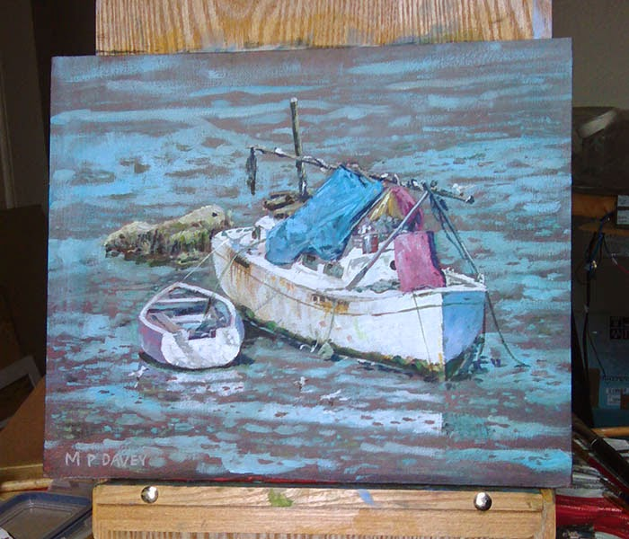 Old boats on the river itchen, Southampton - artist Martin Davey