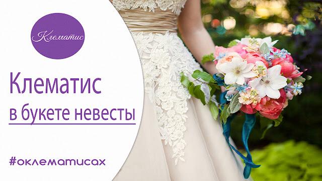 клематис в букете невесты