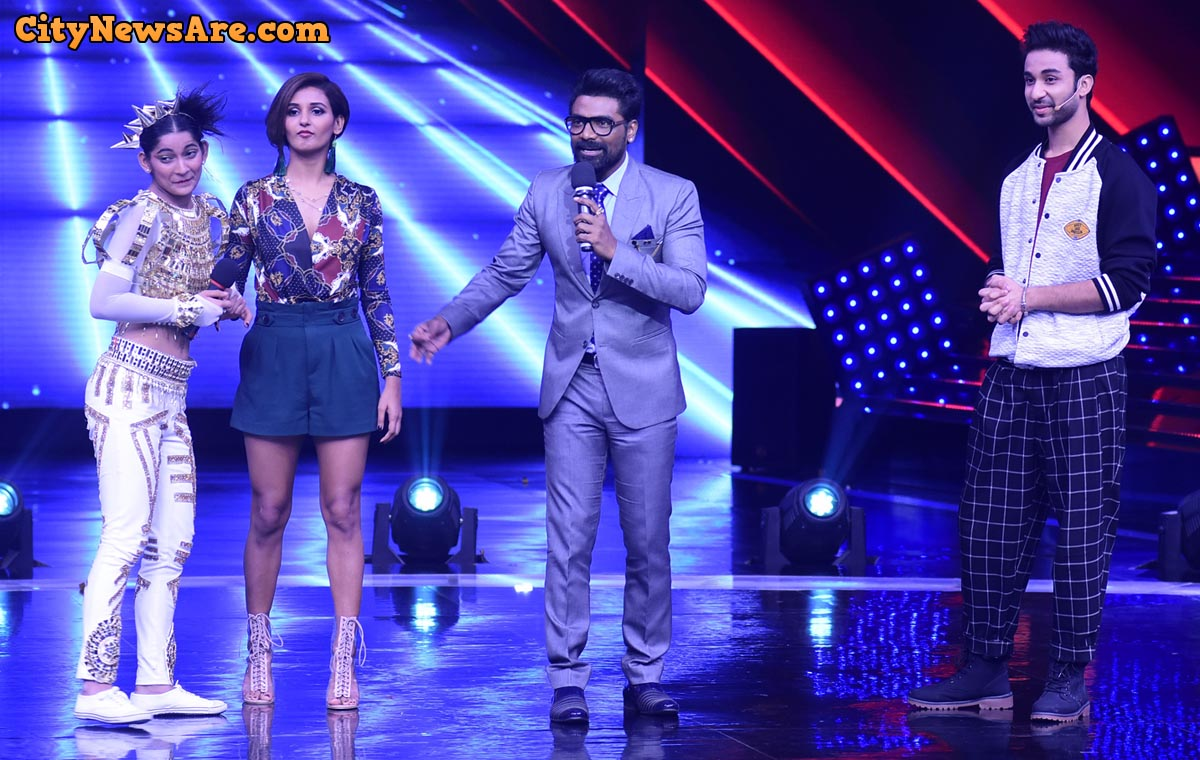Shakti Mohan with contestant Vartika Jha and Remo D'Souza on the set of Dance+4