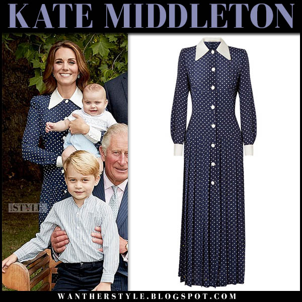 Kate Middleton in blue polka dot alessandra rich dress with white collar official royal family portrait november 13 fashion