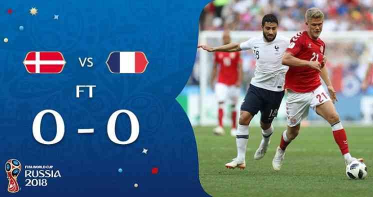 Hasil Denmark vs Perancis Skor Akhir 0-0 | Fase Group C World Cup 2018