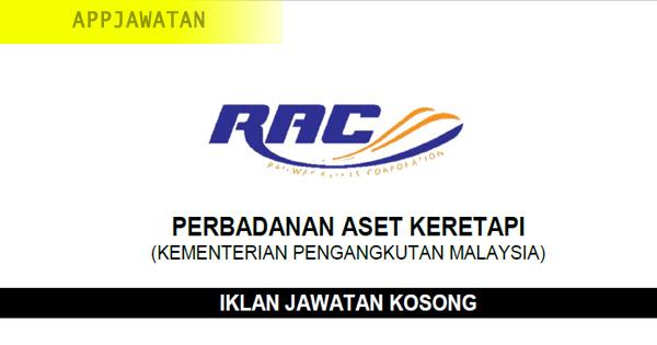Permohonan jawatan kosong di Perbadanan Aset Keretapi (RAC)