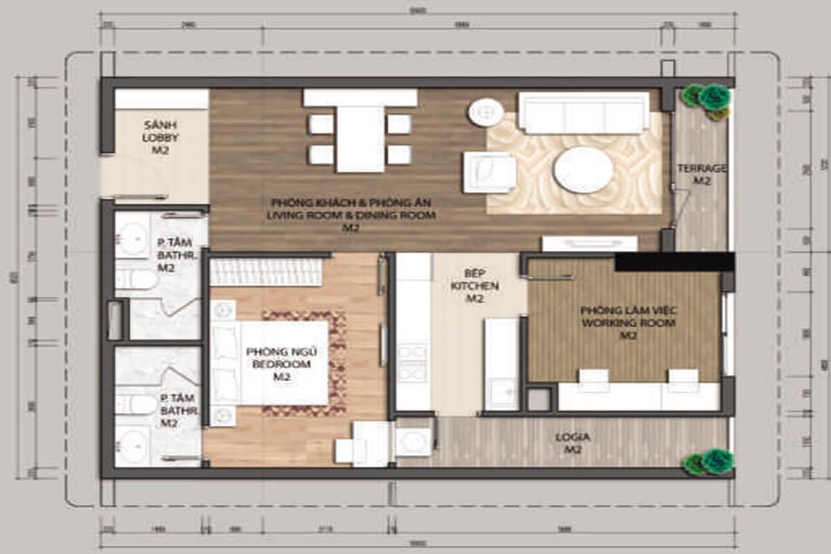 Mặt bằng căn hộ B1.1-1 phòng ngủ – 82.1m2