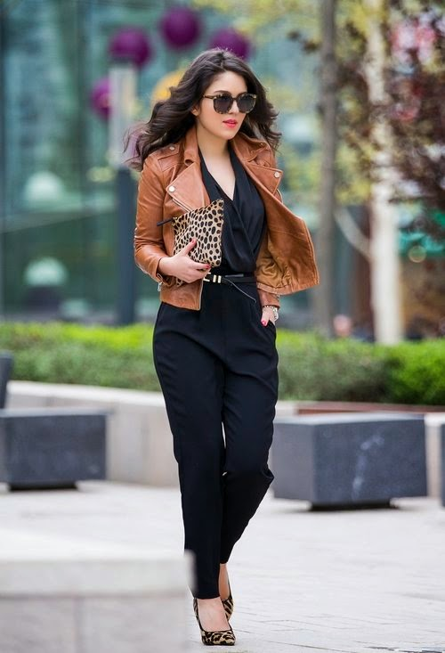 Wearing a Mango Jumpsuit Black with Leather Jacket and Animal Printed Details