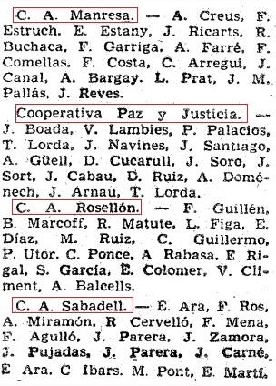 Listado 2 de los equipos de 1ª Categoría A de 1961