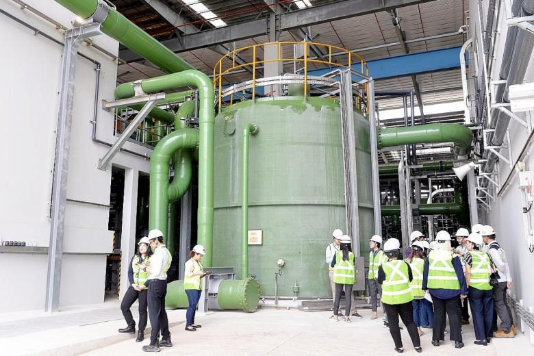 The new $217 million Tuas Desalination Plant can produce up to 30mgd, enough for 200,000 households.