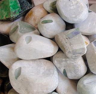raw jade stones at Yangon Bogyoke market