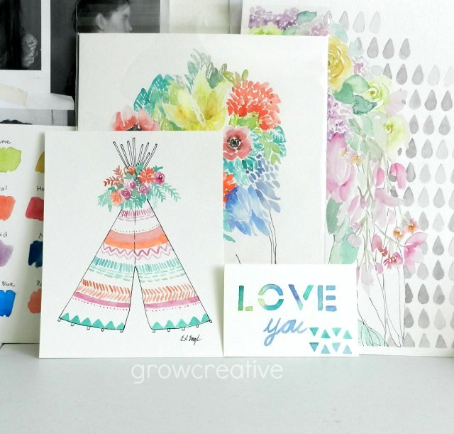 Colorful watercolor paintings by Elise Engh: Boho Teepee, Love You card, Flowers