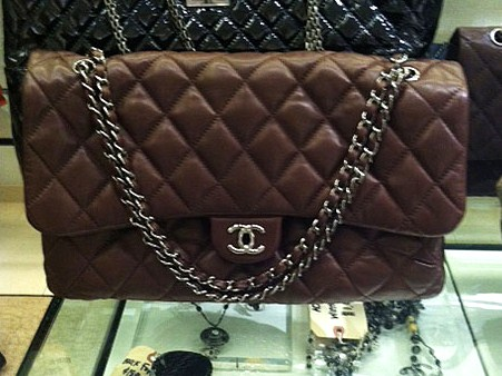 0467b40af69dc4 Savvy Mode: Giant Chocolate Brown Chanel Classic Flap Bag