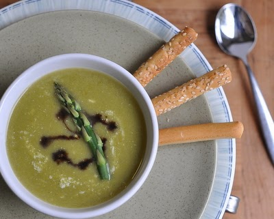 Everyday-to-Elegant Asparagus Soup, one recipe for either rustic or refined asparagus soup. ~ Weight Watchers PointsPlus 3 ~ KitchenParade.com