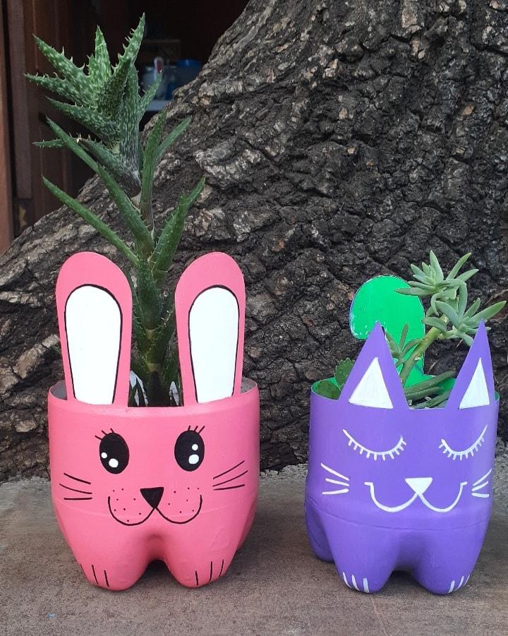 Vasinhos de Garrafa Pet Gato