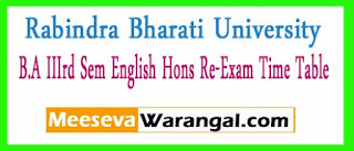 Rabindra Bharati University B.A IIIrd Sem English Hons Re-Exam Time Table