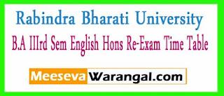 Rabindra Bharati University B.A IIIrd Sem English Hons Re-Exam Time Table