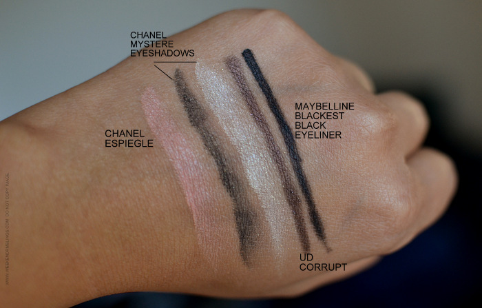 Today's makeup Swatches Chanel lipstick Incandescente Eyeshadow Mystere Espiegle Blush Urban Decay Corrupt Eyeliner Maybelline Blackest Black gel Eyeliner Indian beauty Blog