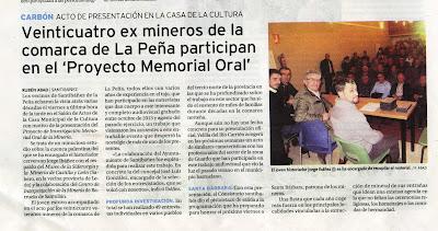 """Recorte de """"El Diario Palentino"""" (Memoria Oral de la Minería)"""