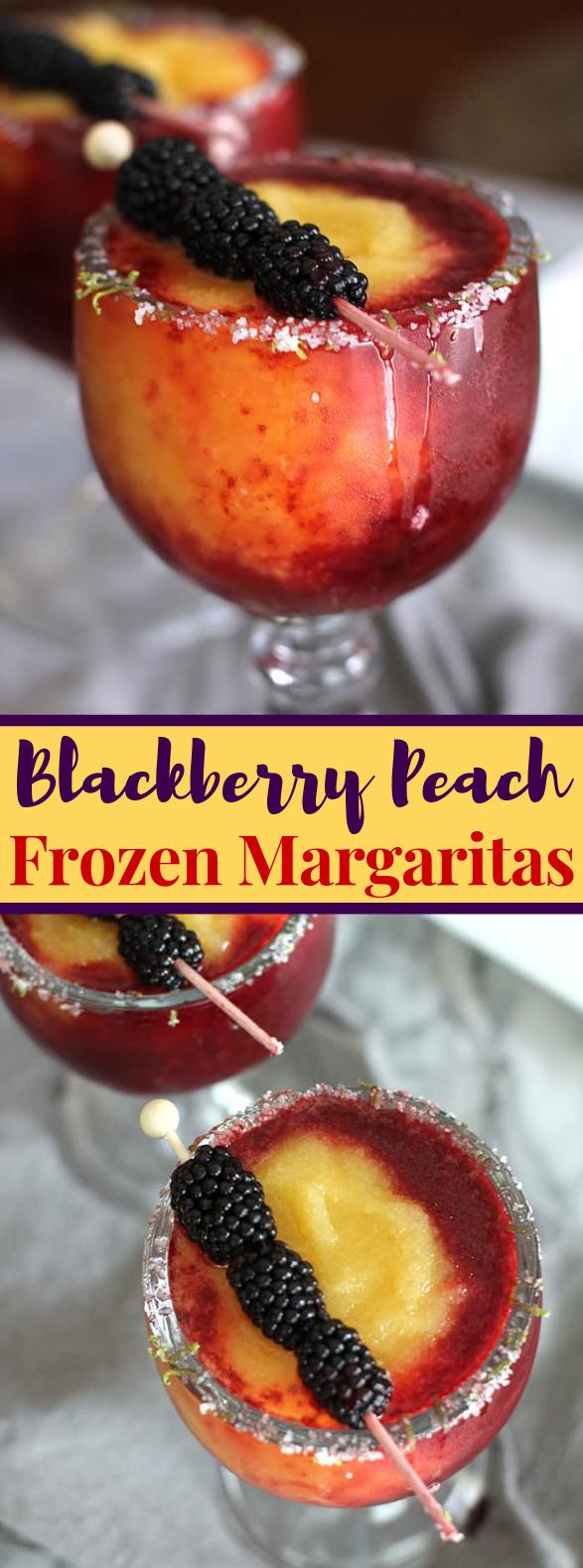 Blackberry Peach Frozen Margaritas #mixeddrink #drinks