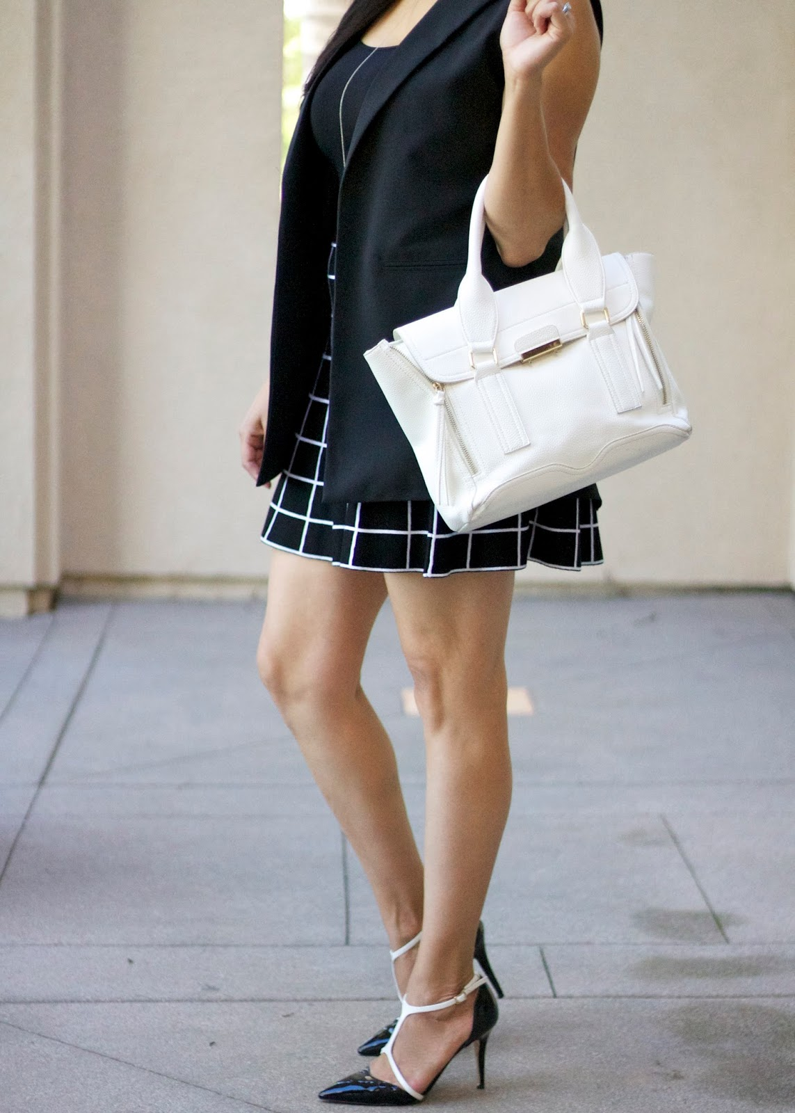 black and white outfit combo, black and white plaid, sleek outfit, forever 21 sleek outfit
