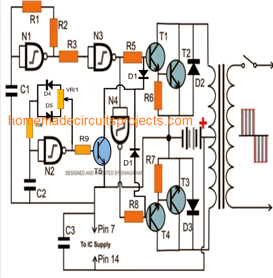 nand gate based 750vA modified inverter circuit