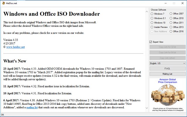 Cara download File ISO Windows 7,8, dan 10 langsung dari server Microsoft